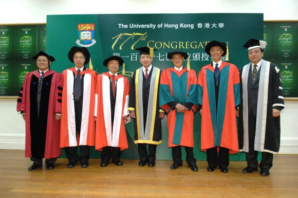 Group photo of honorory degree recipients (Dr Mak 2nd left)